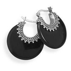 BLK AND NOIR JEWELRY - Onyx Bali Sterling Silver Earrings, $65.00 (http://www.blkandnoir.com/onyx-bali-sterling-silver-earrings/)