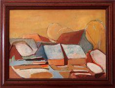 Ladislav Majoroši - Strechy 3, olejomaľba na plátne, 31 x 43 cm, 2003