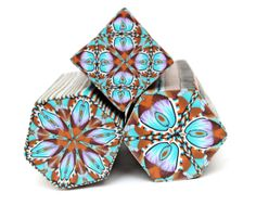 My new polymer clay kaleidoscope canes in blue, violet and brown