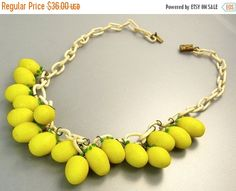 Art Deco Glass Fruit Lemons Necklace Celluliod Chain by jujubee1