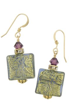 Blues Square Murano Glass Earrings 24kt Gold Foil Beads, Swarovski and Gold Fill Earwires