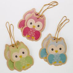 (Arrange along a string of twine or vine for a party or bedroom garland or hang from a valance.)  One of my favorite discoveries at WorldMarket.com: Owl Gift Tags, Set of 2