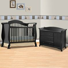 Storkcraft Black Valentia Fixed Side Convertible Crib and Aspen Combo Dresser / Changer 2 Piece Nursery Set FREE SHIPPING