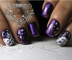 Purple Christmas nails.