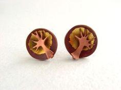 Copper tree dome earrings
