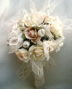 Vintage Chic Wedding | Vintage Bouquet Shabby Chic Wedding ivory Lace Pearls Ready Ship