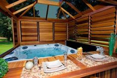 garden design ideas hot tubs