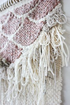 Pink Fringe Scallops Weaving Woven Wall Hanging by hellohydrangea
