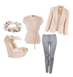 Forever 21 sleeveless blouse w/ grey gap pants