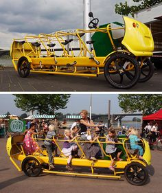 Pedal Powered School Bus made in the Netherlands by De Café Racer, the bus-bike can accomodate 10 kids and an adult driver. I love this idea!
