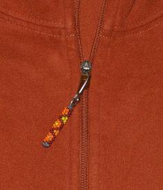 orange beaded zipper pull peyte stitch wildfire orange honey comb design pattern