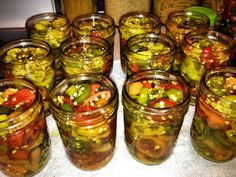 pickling variety of peppers with mustard seed, turmeric, celery seed, garlic. Habanero Recipes, Jalapeno Recipes, Jam Recipes, Canning Recipes, Recipies, Canning Tips, Candy Recipes, Canning Hot Peppers, Pickled Hot Peppers