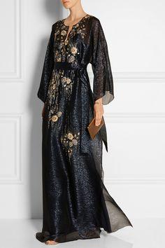 Oscar de la Renta|Embellished silk-chiffon lamé gown|NET-A-PORTER.COM