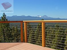 Photo Gallery of Ultra-tec stainless steel cable railing products used in cable deck railing with wood or metal posts Wire Deck Railing, Front Porch Railings, Metal Deck, Steel Railing, Deck Spindles, Glass Railing, Front Porches, Cable Fencing, Outdoor Deck Decorating