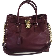 Pre-owned Michael Kors Oxblood Leather Tote ($139) ❤ liked on Polyvore featuring bags, handbags, tote bags, michael kors purses, purple tote bag, michael kors tote, leather tote and purple handbags