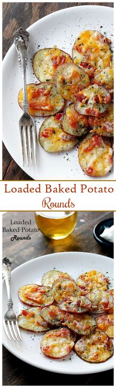{USA} Loaded Baked Potato Rounds - Thinly sliced potato rounds topped with bacon and cheese.