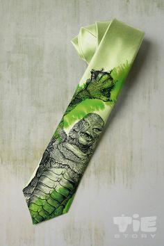 Monster on mens tie. Green monster necktie by tiestory