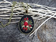 Embroidered Red roses necklace Retro vintage by EmbroideredJewerly