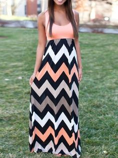 Peach Pink, Contrast, Multicolor, Chevron, Sleeveless, Maxi Dress