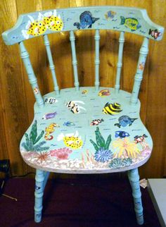 tropical painted furniture. items similar to handpainted old wooden chair on etsy tropical painted furniture