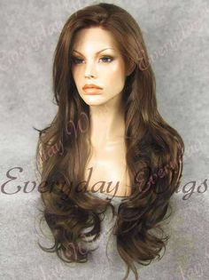 """24"""" #2-Darkest Brown Wavy Synthetic Lace Front Wig- edw237"""