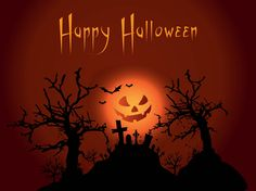 Holidays and scary places vector footage of a Halloween background. Night scenery, dark sky, glowing jack-o'-lantern face with evil smile, silhouettes of flying bats, hill with tombstones and crooked leafless trees. Free vector for Halloween greeting cards and wallpapers. Happy Halloween by gloomus.com