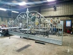 Decorative Wrought Iron Gate being fabricated in our iron shop in Baldwin Place, NY Wrought Iron Driveway Gates, Gates And Railings, Metal Gates, Steel Gate Design, Iron Gate Design, Iron Front Door, Iron Doors, Grades, Entrance Gates