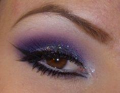 purple 3d glitter winged eyeliner make up #makeup #eyeshadow #eyes