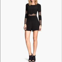 H&M lace inset romper - only worn once! Black romper from H&M with lace insets at the waist and on the sleeves. Worn once for a birthday and in perfect condition! H&M Other