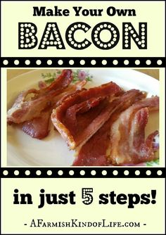 Raised your own pig for butchering? Now it's time to learn to turn that pig into bacon. You can totally do this at home! -- Make Your Own Bacon in Just 5 Steps! - A Farmish Kind of Life Bacon Recipes, Real Food Recipes, Cooking Recipes, Smoker Recipes, Bacon Meals, How To Make Bacon, How To Make Homemade, Emergency Food, Survival Food