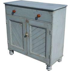 Irish blue painted pine panelled cabinet