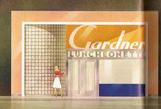 "https://flic.kr/p/48LRup | Gardner Luncheonette | Photo from the book ""Shop America-Midcentury storefront design"" edited by Jim Heimann and essay by Steven Heller."