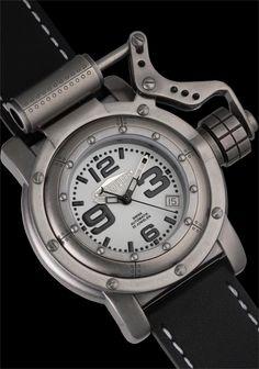 Retrowerk Piston Porthole R006 Watch in Worn Steel Swiss Automatic, Worn Steel Riveted Porthole Case with Piston Crown Mechanism