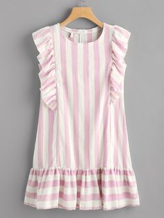 ¡Consigue este tipo de vestido informal de SheIn ahora! Haz clic para ver los detalles. Envíos gratis a toda España. Contrast Striped Frill Trim Dress: Pink Casual Cute Polyester Round Neck Cap Sleeve Shift Short Zip Ruffle Striped Fabric has no stretch Summer Drop Waist Dresses. (vestido informal, casual, informales, informal, day, kleid casual, vestido informal, robe informelle, vestito informale, día)