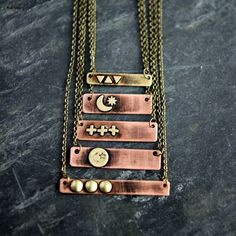 Distressed copper & brass bar pendants in the shop!Several styles/sizes and you can choose the chain length!  Layer 2 or more together.  All are only $24!  There's still time to enter my feather charm pendant giveaway contest!  Check my feed for the post wirh all the details!