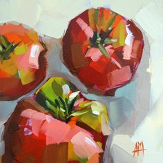 Garden Tomatoes original still life oil painting by Moulton 6 x 6 inches on panel prattcreekart