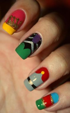 The nails are Aurora, Maleficent, Prince Philip, and I don't know about the last one...