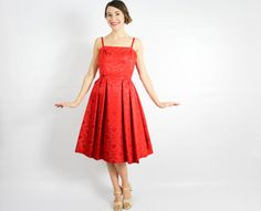 50s Red Party Dress Bright Red Sleeveless by GlennasVintageShop
