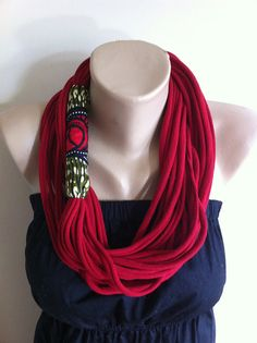 Scarf Necklace Crimson Red  & African Wax Fabric by natureasmuse, $40.00