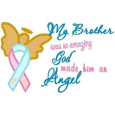 My Brother Angel Applique - 3 Sizes! | Words and Phrases | Machine Embroidery Designs | SWAKembroidery.com