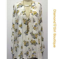 ❗️1 Hour Sale❗️Floral Swing Tunic Dress Soft flowy rayon dress/ tunic features a keyhole front with button closure, hi-lo hem, looks just like the Free People Emma Dress, very boho..available in S-M-L Dresses Mini