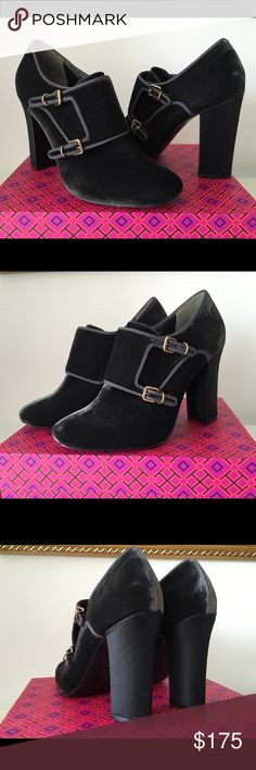 """TORY BURCH CARLEY VELVET MONK ANKLE STRAP BOOTIES TORY BURCH CARLEY VELVET MONK ANKLE STRAP BOOTIE, SIZE 11, HEIGHT HEEL 4"""", BRAND NEW WITH BOX AND DUST BAG Tory Burch Shoes Ankle Boots & Booties"""