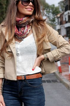 High waisted jeans, cropped jacket, scarf
