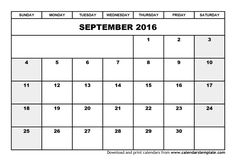 2016 September Calendar Template Editable