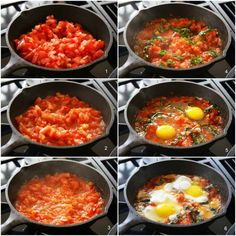 Italian Tomato and Eggs cooking steps. Entree Recipes, Egg Recipes, Vegetarian Recipes, Cooking Recipes, Healthy Recipes, Skillet Recipes, Recipies, Italian Eggs, Ways To Cook Eggs