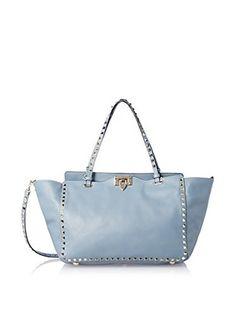 Valentino Women's Medium Rockstud Shoulder Bag, Grey Blue