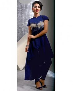 1. Navy blue Georgette kurti 2. comes with matching inner 3. Length of kurti 38 to 50 inches