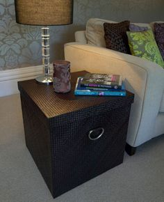 giant storage box / cube for better home storage - especially good for our stack of photo albums under the end table