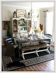 French Farmhouse Nautical Dining Room- Welcome Home Summer Tour-From My Front Porch To Yours