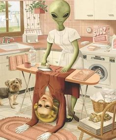 Jeff Drew, art- alien, ironing out her human skin Art Bizarre, Weird Art, Strange Art, Art Alien, Pop Art, Arte Horror, Psychedelic Art, Surreal Art, Aesthetic Art